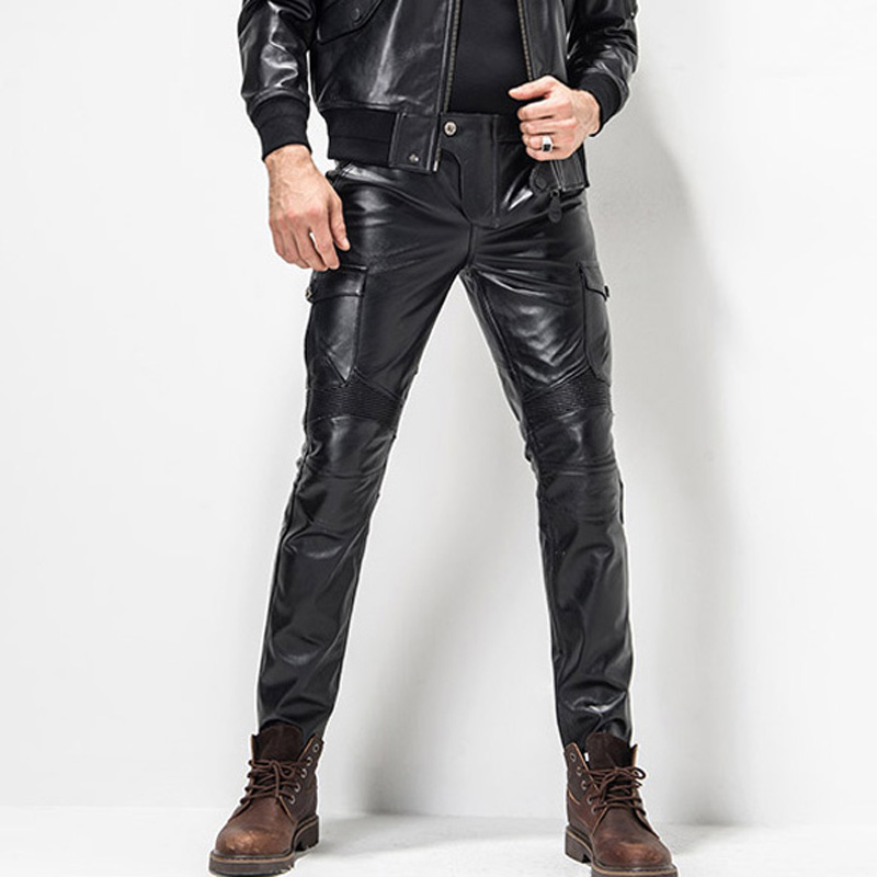 Men's Leather Pant Slim Leather Skinny Biker Pants Motorcycle Biker Punk Rock Pants Tight Gothic Leather Pants For Men  TJ04