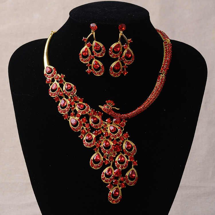 Luxo ouro strass pavão conjuntos de jóias de noiva prata banhado a cristal conjunto de brincos de colar de declaração de casamento