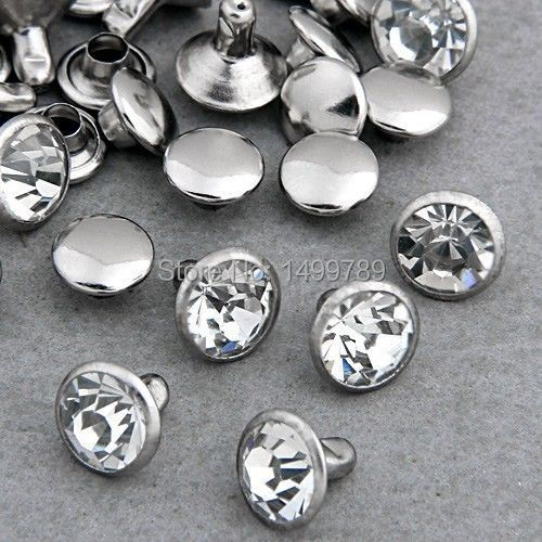 Hot Sell 100Sets 8mm DIY CZ +++ Krystaller Rhinestone Rivets Rapid Silver Nailhead Spots Studs Shipping Free