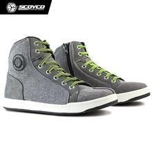 Original SCOYCO Motorcycle Boots Men Grey Casual Fashion Wear Shoes Breathable Anti-skid Protection Gear Botas De Motociclista