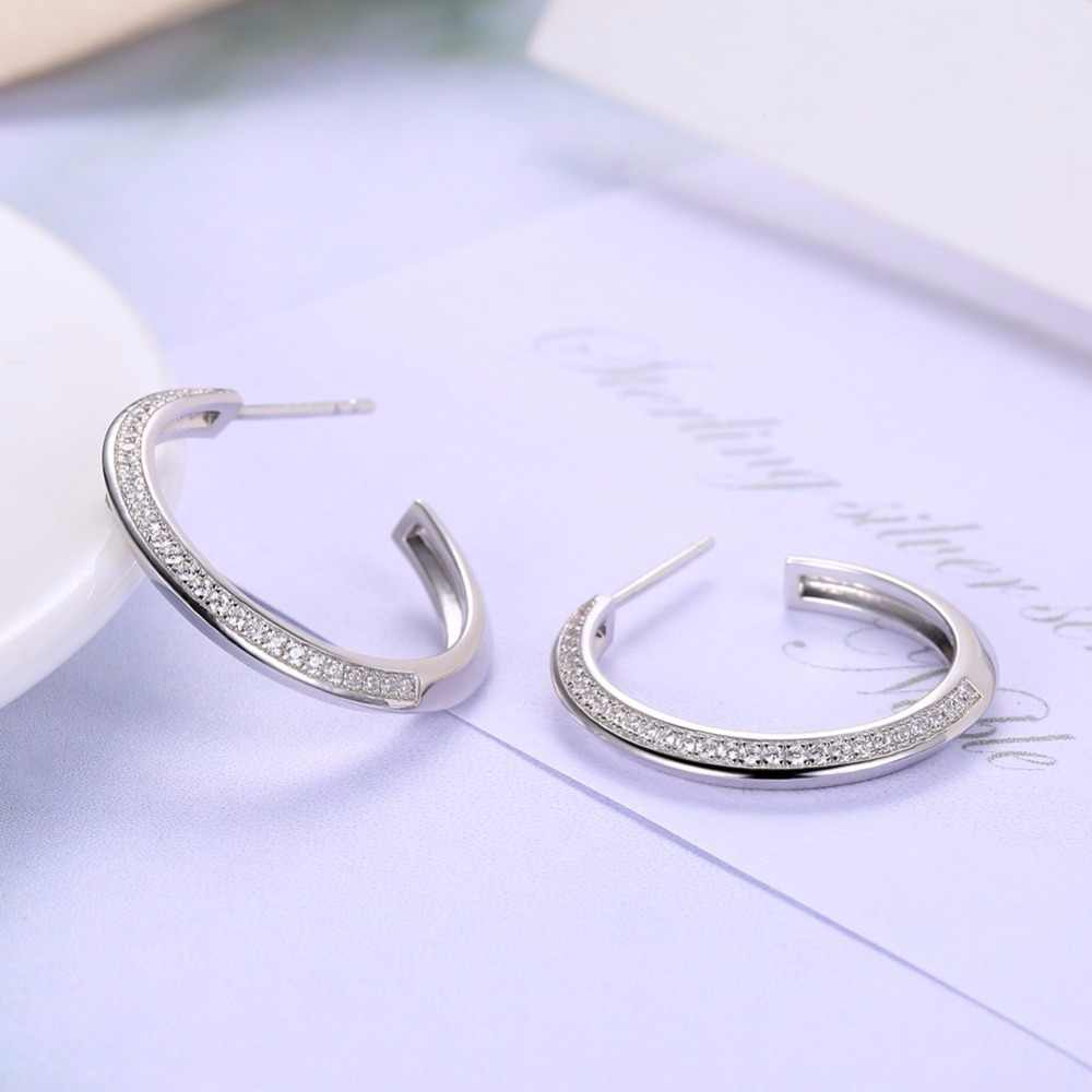 INALIS Classic 925 Sterling Silver CZ Crystal Big Round Hoop Earrings Women Ear Studs Jewelry Accessories Minimalist Bijoux