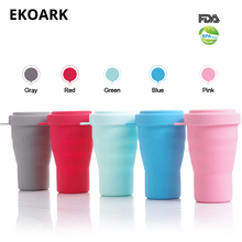 330ml Silicone Collapsible Cup With Lid 5 Color Food-Grade BPA free Folding Coffee/Tea for Outdoor/Travel/Camping/Hiking