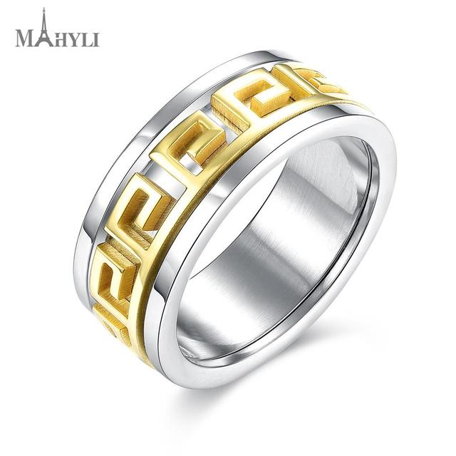 MAHYLI Mens Titanium Rings gold silver Men Engagement pattern