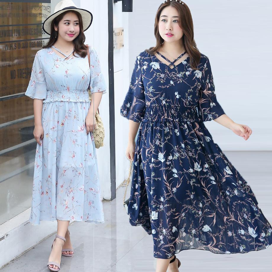 Robe d'été 2019 lâche en mousseline de soie fleur imprimé longue robe de soirée grande taille longue bal femmes robes taille femme soirée