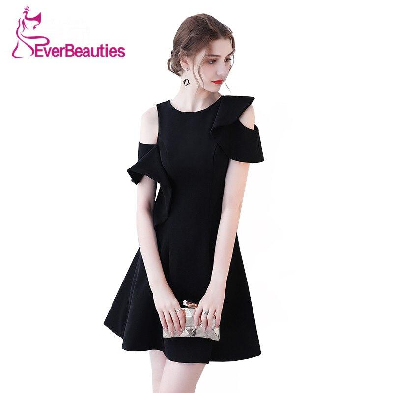Robe De Soiree Short   Evening     Dresses   2019 Black Prom   Dress   O-Neck Avondjurk New Little Black   Dresses     Evening   Gowns