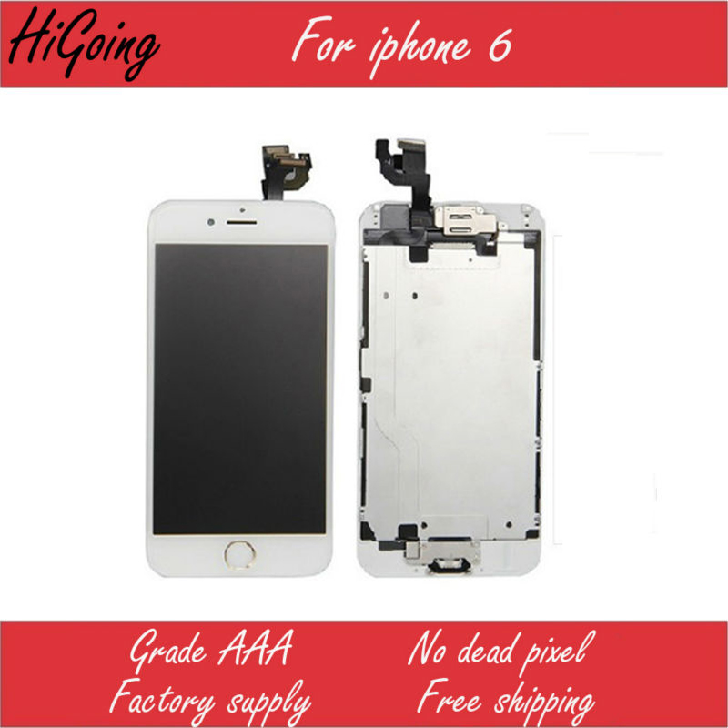 LCD Screen Display With Touch Digitizer For iPhone 6 Full Replacement Home Button Camera Speaker Flex Cable Ribbon for iPhone6