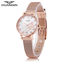 Guanqin gs19035 mujeres reloj de cuarzo diamante artificial flor dial luminoso reloj de pulsera de mujer niñas relojes de vestir
