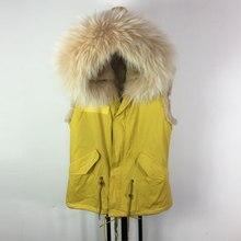 Высококачественная Фабрика желтый жилет унисекс без рукавов большой воротник куртка с капюшоном меховая жилетка, куртка