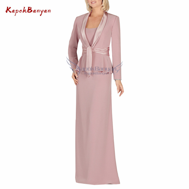 Two Pieces Zipper Mother Of Bride Dress With Long Sleeves Jacket Simple Chiffon Long Dresses Mother Groom