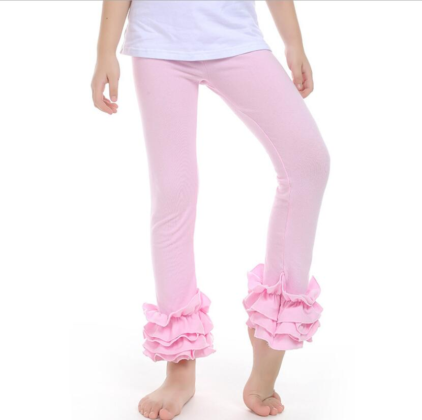 Autumn Cotton Pure color baby Leggings Soft Girl Trousers Girl Lace Boutique Pants Fashion Ruffle Baby