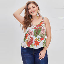 Plus Size Summer Blouse Women Clothes 2019 Tunic Chiffon Ladies Tops Floral Print Blouse Sleeveless boho clothing camisas mujer(China)