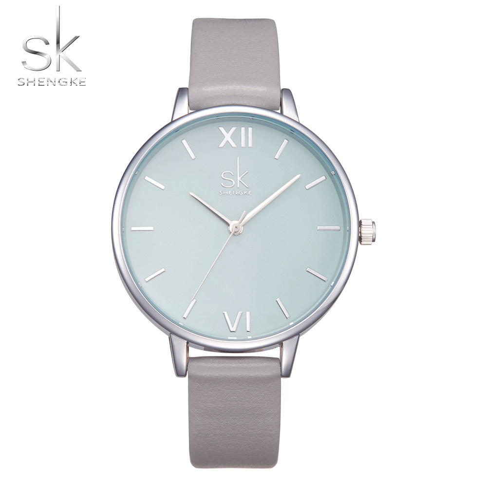 Shengke Watches Women Fashion Watch 2017 New Elegant Dress Leather Strap Ultra Slim Wrist Watch Montre