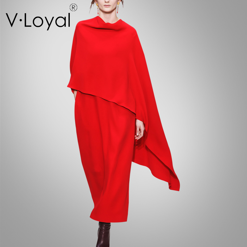Early Spring New Fashion Cloak Dress Customized Red Dress in Europe and America