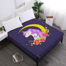Dreamlike Unicorn Bed Sheets Girls Sweet Cartoon Fitted Sheet Soft Bedclothes Elastic Band Mattress Cover D25