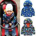 Otoño Bebé Infantil Chicos Niños Refrescan huellas de Dinosaurio Ropa Impermeable Con Capucha Trench Coat Jacket Outerwear