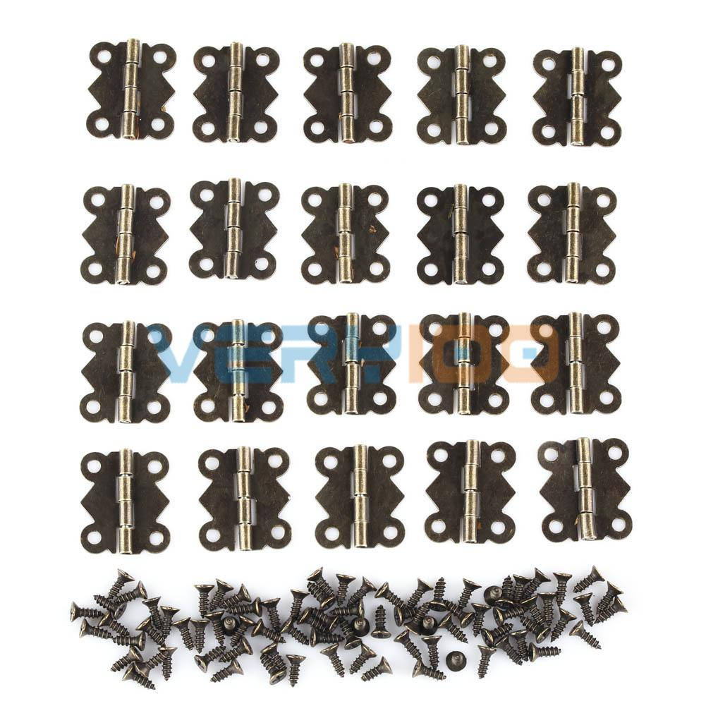 20pcs Decorative Vintage Mini Butterfly Hinges Bronze For Cabinet Jewelry Box  Size S 2*1.7cm