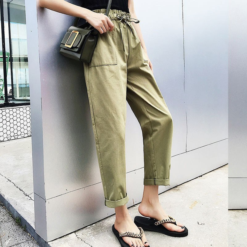 OIONINOS Women Pants Women Casual Joggers Black Elastic High Waist Loose Female Trousers Korean Style Lady Solid Pockets Pants