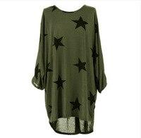 Woman Plus Size Stars Tshirt Gray Black Green Tops Punk Tee Shirt Femme Clothes 2017 T Shirts Women Summer Tarajuku T shirts