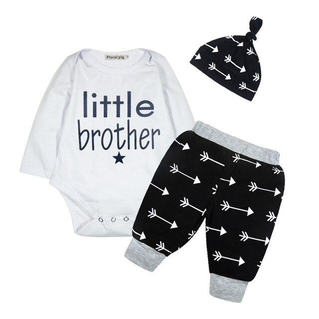 80e061716d6 Fashion 3PCS Newborn Infant Baby Boy Clothes Long Sleeve Letter+Arrows Top  Romper+Leggings Pants Hat Outfits Set Little brother