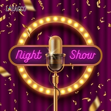 Laeacco Night Show Photography Backgrounds Golden Microphone Scene Baby Children Photographic Backdrops For Photo Studio