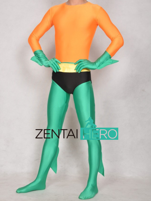 Free Shipping DHL Wholesale Orange and Green Aquaman Superhero Costume Lycra Spandex Zentai Catsuit Plus Size No Hood SC1571