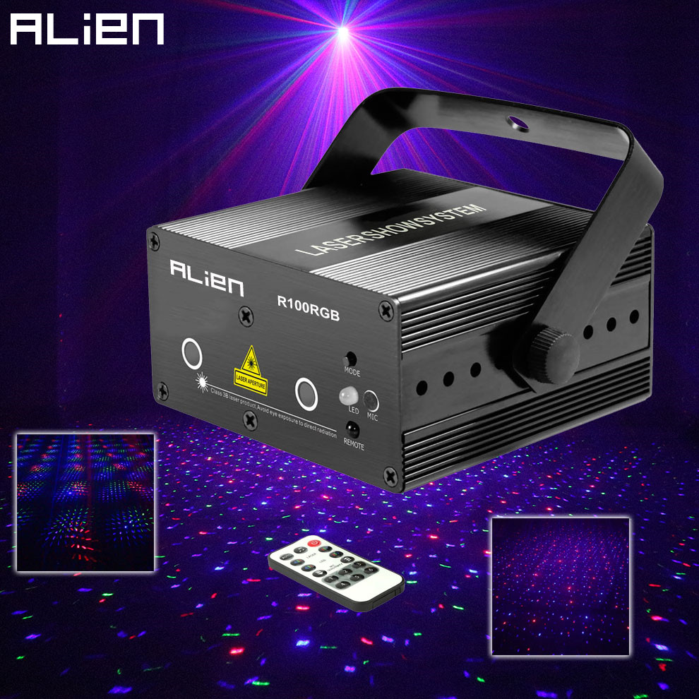 ALIEN Mini RGB Star Dot Laser Light Projector Stage Lighting Effect DJ Disco Party Christmas Music Show Lights With IR Remote rg mini 3 lens 24 patterns led laser projector stage lighting effect 3w blue for dj disco party club laser