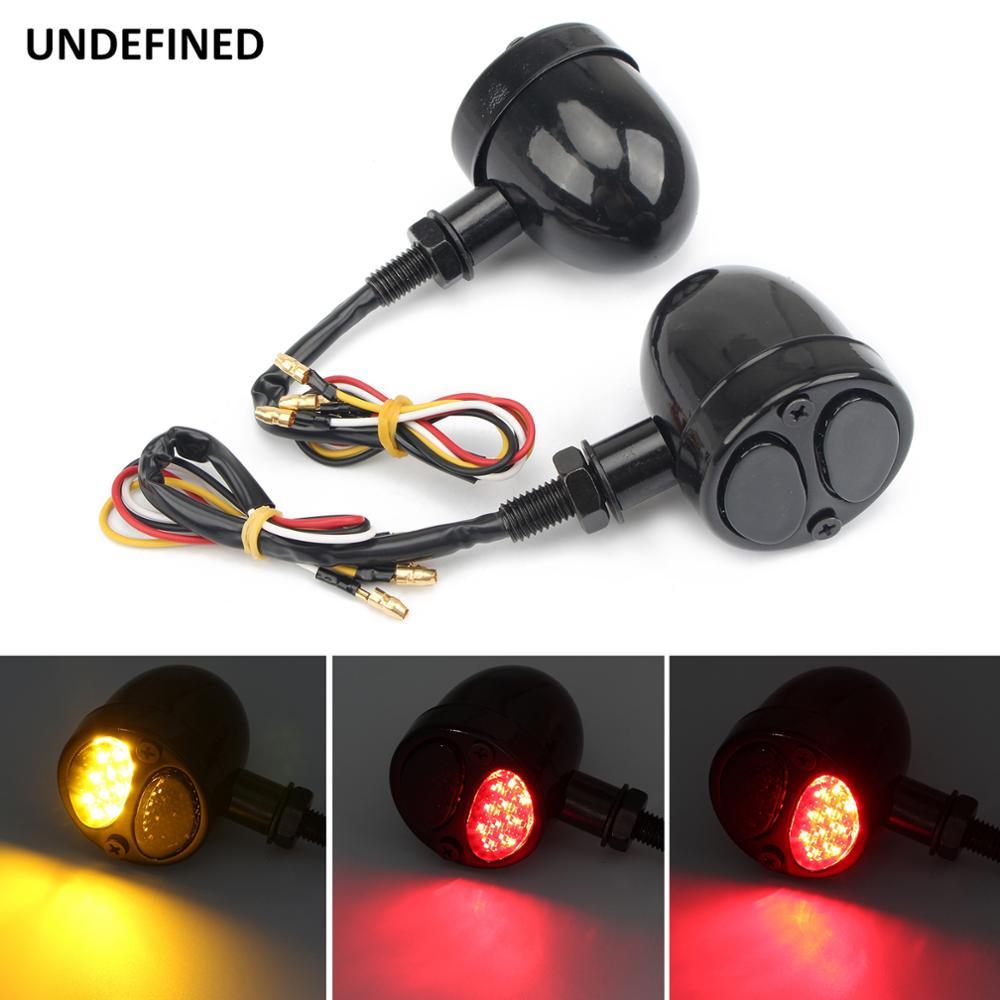Universal Red 20 LED Chrome Motorcycle Stop Brake//Running Turn Signal Tail Light