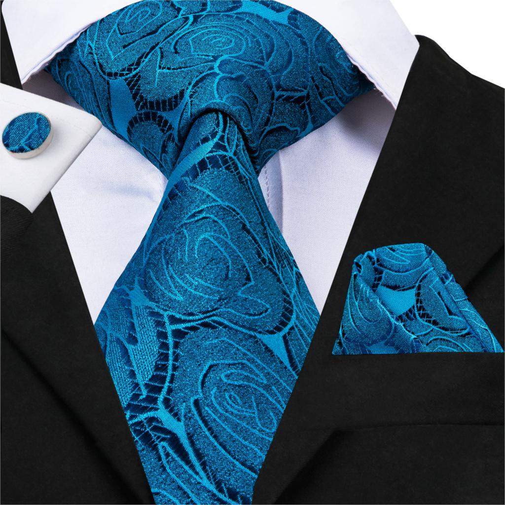 Hi-Tie Ties For Men 100% Silk Blue Floral Gravatas Neckties Pocket Square Cufflinks Set Men's Wedding Business Party Tie SN-3067
