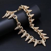 Роскошное ожерелье в стиле панк с заклепками, украшенное кубическим цирконом, для мужчин, в стиле хип хоп, ювелирное изделие, цепочка золото