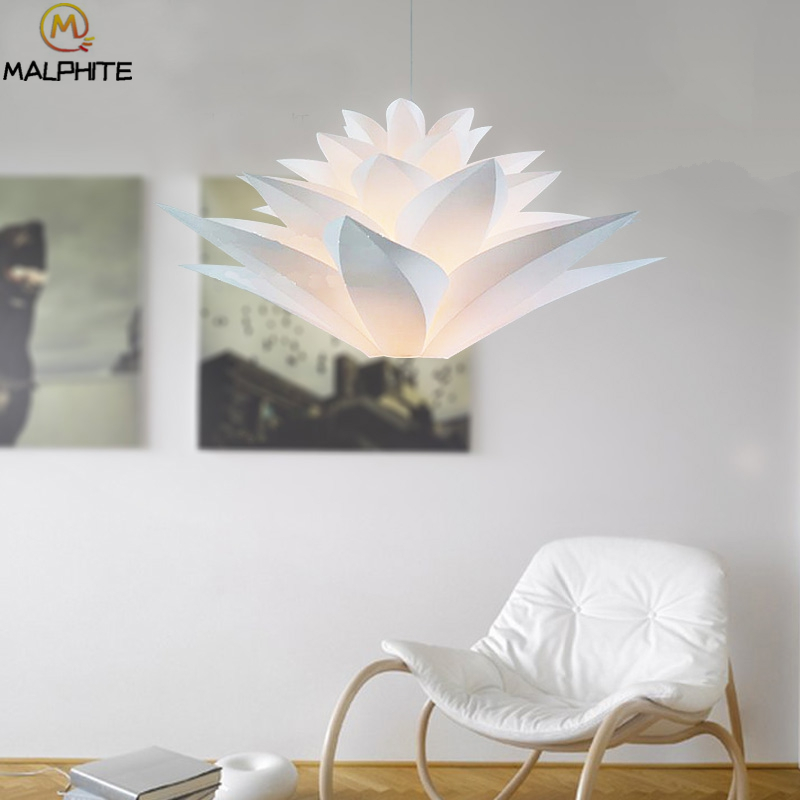 Led Lotus pendant lights Nordic modern PVC white Lotus pendant lamps simple dining room lily decorative LED lighting fixtures