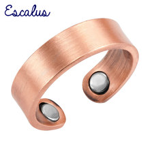 Escalus 2018  Antique Pure Copper Trendy Magnetic Ring For Women Resizable Female Magnet Women's Jewelry Charm Finger Wear Rings