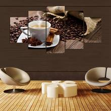 Modular Canvas Printed Painting 5 Pieces Coffee Artistic Poster Living Room Decor Coffee Beans Pictures Kitchen Wall Art Framed(China)