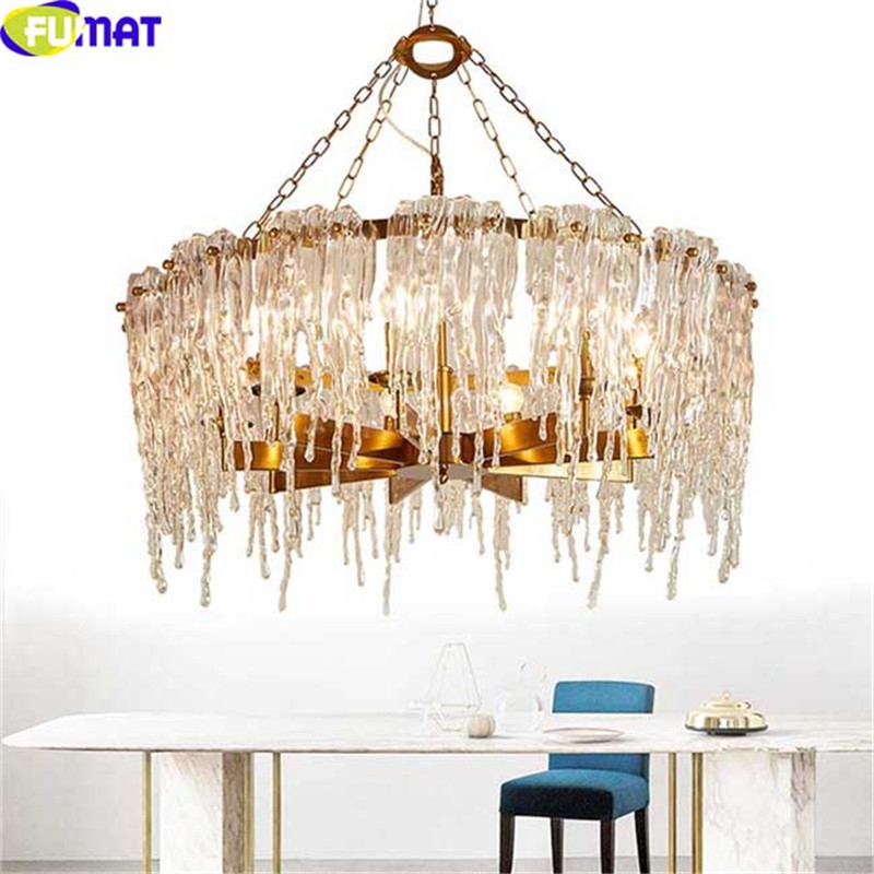 FUMAT LED Chandelier Ceiling Lighting Fixture Icicle Glass Modern Pendant Lamp Design Su ...