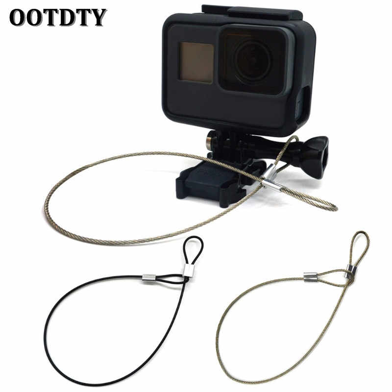OOTDTY Safety Strap Stainless Steel Tether Lanyard Wrist Hand 30cm For GoPro Camera New