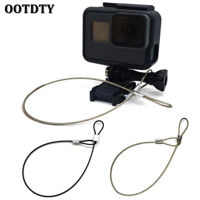 ootdty-safety-strap-stainless-steel-tether-lanyard-wrist-hand-30cm-for-gopro-camera-new