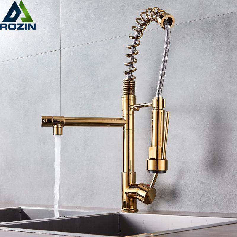 Golden Spring Kitchen Faucet 360 Swivel Dual Spouts Kitchen Mixer Handheld Shower Head Hot Cold Bathroom Water Taps