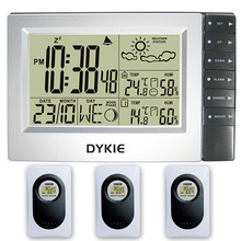 DYKIE LCD Weather Station Indoor and Outdoor Electronic Temperature Humidity Digtal Snooze Alarm Clock Wireless 3 transmitters