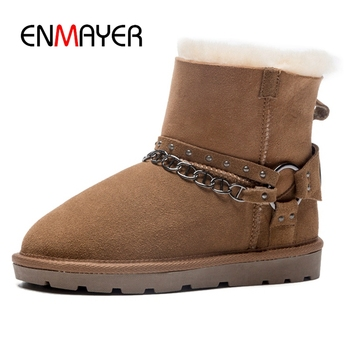 ENMAYER  Women Boots  Winter Boots Women  Round Toe  Slip-On  Ankle Snow Boots  Zapatos De Mujer Size34-40  ZYL1649