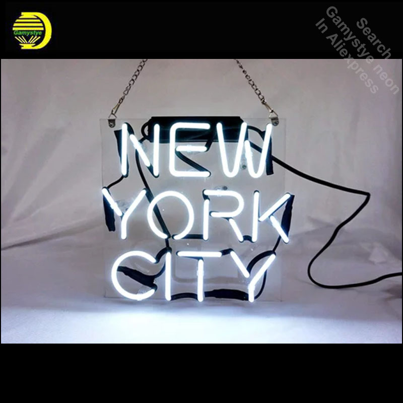New Yor  City Neon Sign Decorate window Home GLASS Tube Handcraft Shop Display WALL SignS personalized clear board neon lampNew Yor  City Neon Sign Decorate window Home GLASS Tube Handcraft Shop Display WALL SignS personalized clear board neon lamp