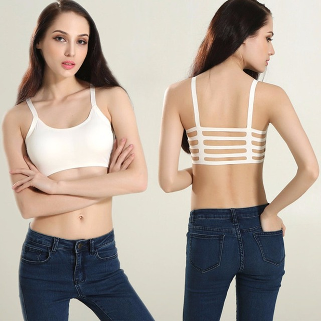 ddaed6c478085c New Sexy Women Stripe Boho Back Bra Crop Top Tank Vest Cami Hollow Bralette  White