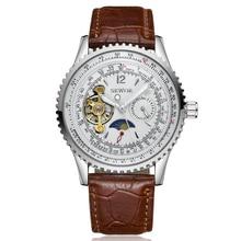 Sewor 2017 regla de cálculo reloj masculino tourbillon dial caja de acero inoxidable para hombre relojes de primeras marcas de lujo reloj mecánico automático