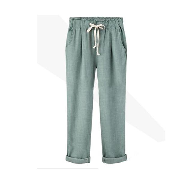 Nova Menina Calças de Linho de Algodão Elástico Da Cintura das Mulheres Calça Casual de Alta Qualidade Solto Roupas Femininas Tamanho Grande Harém calças