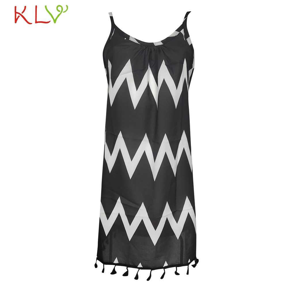 Женское платье Boho в полоску с кисточками без рукавов, сексуальное элегантное платье, вечерние платья, 2019 летнее пляжное платье, vestidos robe Femme 19Apr11
