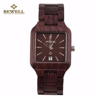BEWELL Men Natural Wooden Quartz Watch Aquare Shape Wristwatch Casual Wood Wristwatches 2017 New