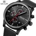 Мужчины Часы 2016 MEGIR Новый Хронограф Стали Смотреть Мужчины Luxury Brand Известный Наручные Часы Для Мужчины Часы Мужской Кварц-часы Relojes