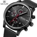 Homens Relógios 2016 MEGIR Chronograph Homens Relógio Marca De Luxo Famoso Relógio De Pulso de Aço Para O Homem Macho Relógio de Quartzo-relógio Relojes