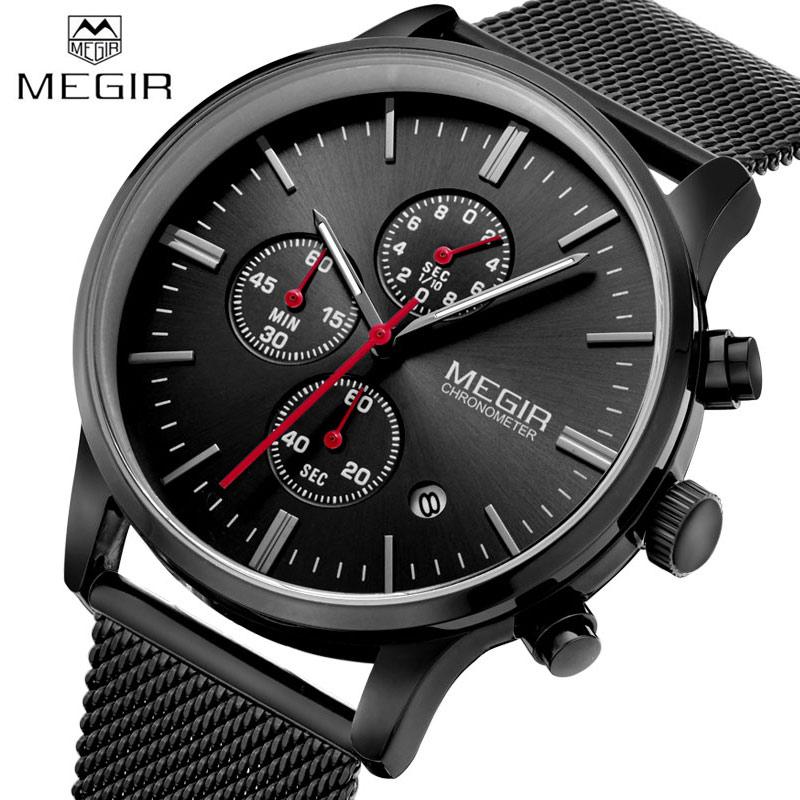 Prix pour Hommes Montres 2017 MEGIR Nouveau Chronographe Montre En Acier Hommes Marque De Luxe Célèbre Montre-Bracelet Pour Homme Horloge Mâle Quartz-montre Relojes