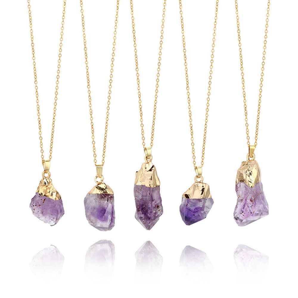 1 ud. Colgante con gema amatista Natural púrpura Punta de cristal de cuarzo curativa piedra larga cadena collar amatista colgante decoración del hogar