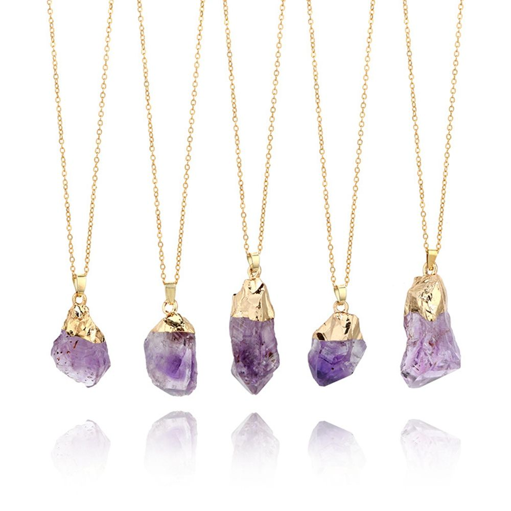 1PC Purple Natural Amethyst Gemstone Pendant Quartz Crystal Point Healing Stone Long Chain Necklace Amethyst Pendant Home Decor(China)