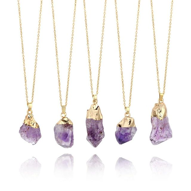 1PC Purple Natural Amethyst Gemstone Pendant Quartz Crystal Point Healing Stone Long Chain Necklace Amethyst Pendant Home Decor 1